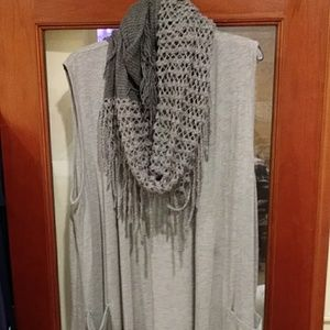 Grey sweater vest with knit scarf